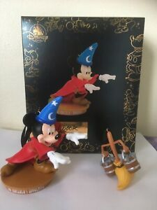 Disney Mickey Mouse Fantasia Through the Years Broomstick 2 Ornaments New & Rare