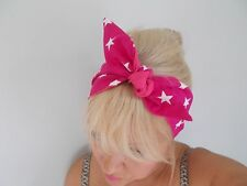 HEAD SCARF HAIR BAND PINK WHITE STARS STAR BUNNY SELF TIE BOW ROCKABILLY LINED