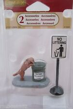 Lemax Village Accessory Figurine No Loitering Set of 2 w Dog #14364 @2011 NEW
