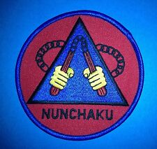 Vintage 1980's Nunchucks Kung Fu Martial Arts Nunchaku Jacket Patch Crest C 333