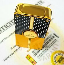24ct Gold Plated Cohiba Gas Triple 3 Flame Jet Turbo Pocket Lighter Cigar Punch