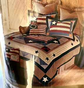 JC Penney Americana Star Spangled Twin Handcrafted Quilt Red/ Blue