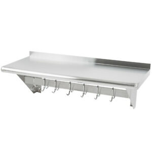 "CMI 15"" x 48"" Commercial Wall Mounted Pot Rack with Shelf and Hooks"