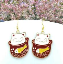 Koy Fish Pot Drop Earrings 😻😻� One Pair of Japanese Cat with