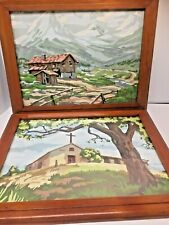 Pair Vintage Framed Paint by Number Landscapes Mountain Scenes Painting 12 x 16
