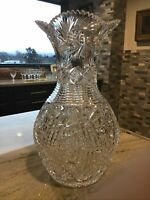 Highest Quality HUGE ABP BRILLIANT CUT GLASS CRYSTAL Bulbous Vase Hobstars 14""