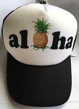 Hawaiian Trucker Polyester Hat Mesh Back Adjustable Cap Hawaii Aloha Pineapple N