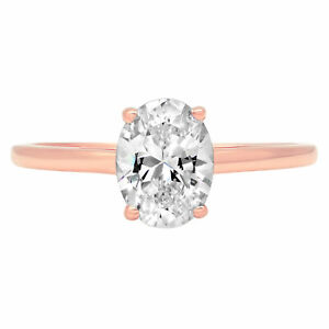 1.0 ct Oval Designer Statement Bridal Classic Ring 14k Rose Gold Real Moissanite