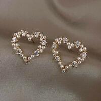 Charm Crystal Pearl Earring Hollow Heart Ear Stud Drop Dangle Women Jewelry Gift