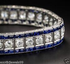 Vintage Art Deco Style Simulated Diamond &Blue Sapphire Line 925 Silver Bracelet