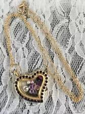 LIVING MEMORY GOLD PURPLE CRYSTAL HEART LOCKET & CHAIN BUTTERFLY FLOATING CHARM
