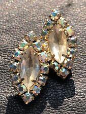 Designer Aurora Borealis Rhinestone Vintage Earrings