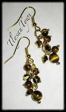 Tigers Eye Gemstone & Crystal Cluster Earrings...Gold Plated..Brown/Gold