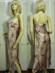 NWT $98 Cabernet Couture Long Nightgown SMALL Soft Taupe & Violet Floral Satin