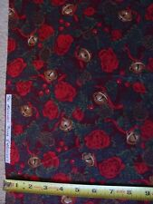 Christmas Sleigh Bells Pine Cone Berry Toss 1 YD Cotton Fabric Alexander Henry