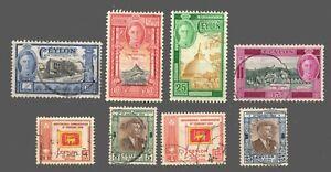Ceylon  used  #296-99 / 300-03 2 Complete Sets  KG VI    1947-49 Cat. $5.