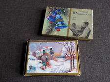 Mid-Century 1966 Richard Bauer Mouth Painted Box of Christmas Greeting Cards