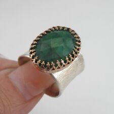 Hadar Designers Filigree 14k Gold F 925 Silver Emerald Ring 6,7,8,9,10 (I r560)Y