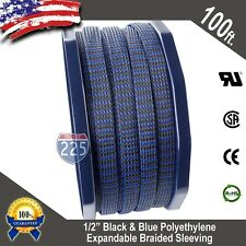 "100 FT 1/2"" Black Blue Expandable Wire Sleeving Sheathing Braided Loom Tubing US"