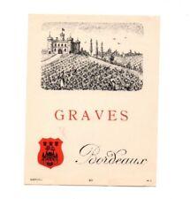 France - Vintage Wine Label - Graves, Bordeaux