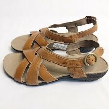 Merrell Bassoon Criss Cross Leather Strap Sandals Tan Womens Size 8