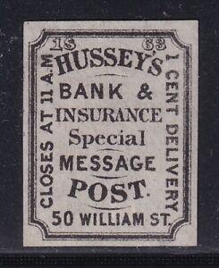 US STAMP BOB LOCAL #87L33 HUSSEY'S POST,  NY 1C 1863 BLACK MH/OG