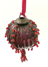 Mikasa Red Glass Ball Christmas Ornament Metal Cap Wires Beaded Strings Tassel