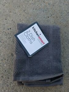 "RITZ Kitchensmart Colors Set of 2 Dish Cloths Gray 100% Cotton 12"" x 12 """
