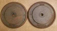 York Barbell Two 25 lbs Standard plates Weights vintage gym 50 total
