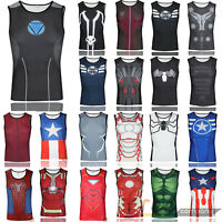 Men Compression Marvel Superhero T-Shirt Gym Sport Jogger Vest Jersey Sleeveless