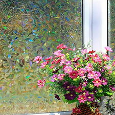 Static Cling Cover Stained Floral Glass Window Film Privacy Home Decor 45*100cm
