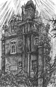 Old House Mansion Night Architecture Antique Ink Drawing - ACEO Print 3 of 10