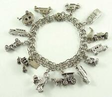 Themed Sterling Silver Charm Bracelet with 13 Transportation Charms