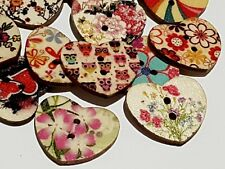 10 Mixed Wooden HEART Buttons 25mm - Craft - Sewing Embellishments