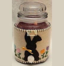 CANDLE COZY JAR WRAP seasonal hand sewn felt EASTER BUNY fits apx 3 5/8 diam jar