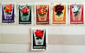 6 Francobolli Magyar Posta 1962 - Ungheria - serie Fiori - timbrati