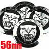 4 X 56mm Jaguar Wheel Centre Cap Badges Emblems Tin Stickers Black Growler