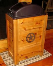NEW WOODEN TRASH CAN WASTE BASKET BIN 30 GAL WESTERN RUSTIC CABIN DECOR