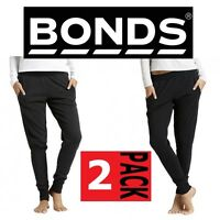 2 PAIRS x BONDS WOMENS CUFF TRACKIES Cotton Trackpants Pants Comfy Black Grey