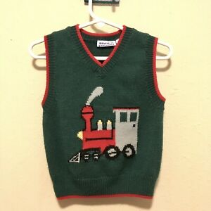 Vintage 1990s Baby Knit Sweater Green Red Train Vest- 18 Months