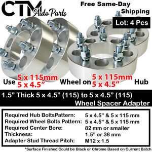 """4Pc 1.5"""" THICK 5x4.5(115) to 5x4.5(115) WHEEL ADAPTER SPACER MAZDA/PONTIAC/MORE"""