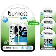8 x Uniross C Size 2600 mAh Rechargeable Batteries LR14