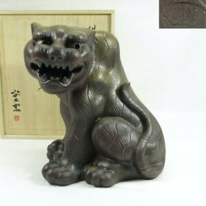 C443 High-class Japanese tiger statue of BIZEN pottery with wonderful great work
