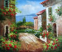Stretched, Tuscany Italy Landscape-17, Quality Hand Painted Oil Painting 8x10in