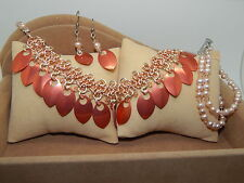 Natural Freshwater Pearls, 3 piece set Hand-Made Scale Maille with Crystals &