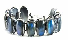 Labradorite Bracelet Sterling Silver Black Rhodium 7 8 Inch Adjustable Bezel