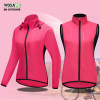 Frauen Fahrradjacke Winddicht reflektierend Weste Lange Ärmel Kapuzenoberteil