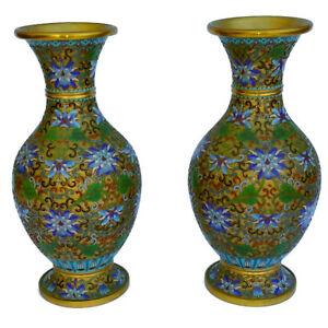 Cloisonne Vases Pair, Copper with Enamel Floral Design. 26cm tall