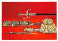 BF39021 hunting equipment set with  turquise   dresden germany   art postcard