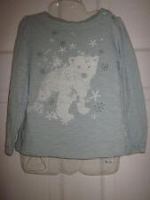 Gap Kids Girls100% Cotton White Bears Appliqués Long Sleeve Top Blue Mint Siz 5